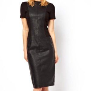 Asos Paneled Faux Leather Black Midi Dress Size 2